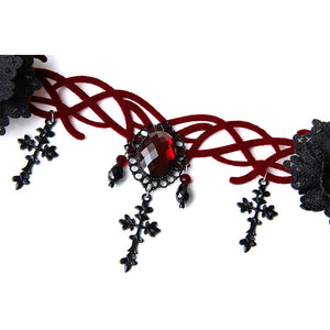 Black Gothic Red Gem Hair Ornament