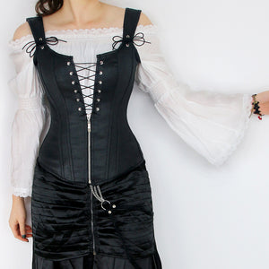 Black Suede Strappy Corset with Zip