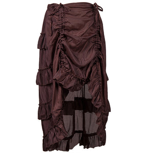 Brown High-Low Steampunk Skirt