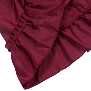 Wine Red High-Low Steampunk Skirt