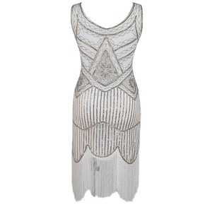 White and Gold Beaded 1920's Gatsby Dress