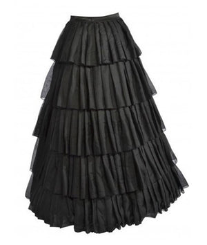 Long Black Victorian Steampunk Skirt