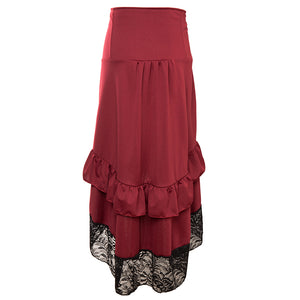 Red & Black Lace Steampunk Skirt