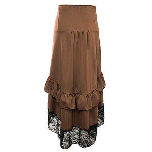 Brown & Black Lace Steampunk Skirt