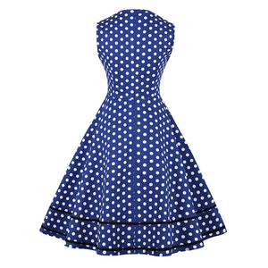 Royal Blue Retro Polka Dot Dress