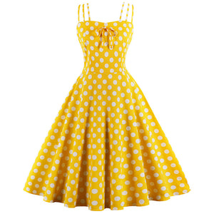Yellow Summer Polka Dot Dress