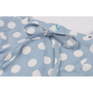 Pale Blue Summer Polka Dot Dress