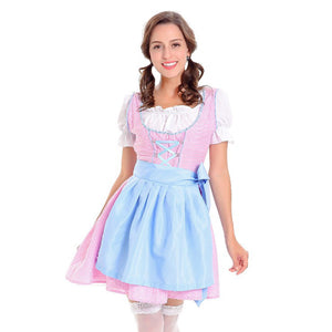 Pastel Pink and Blue Checked Oktoberfest Dirndl