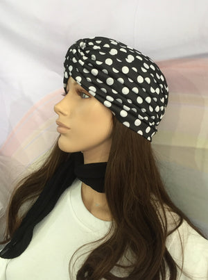 Polka Dot Turban Black