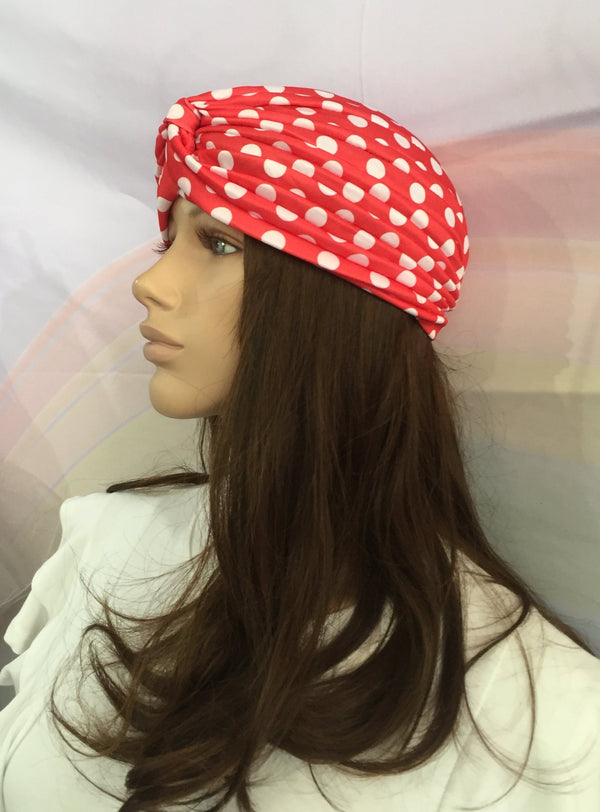 Polka Dot Turban Red