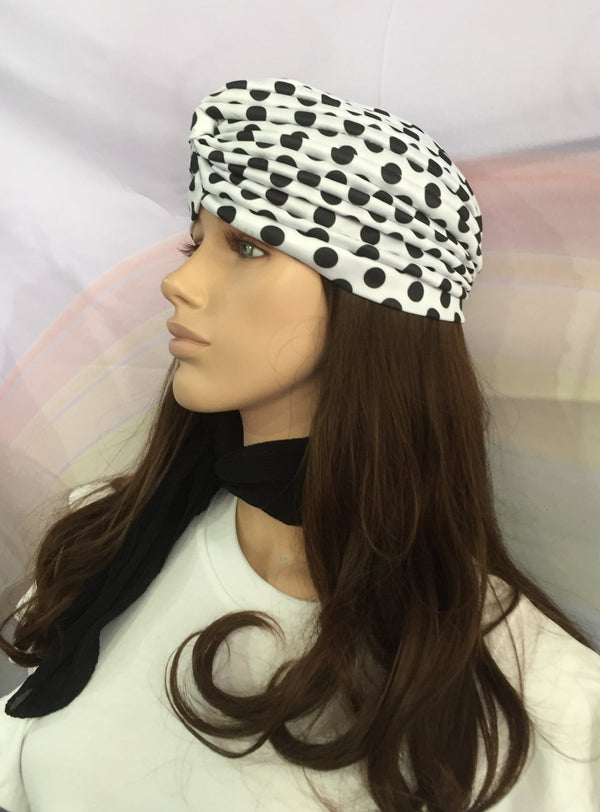 Polka Dot Turban White