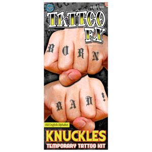 Full Alphabet Old English Special FX Knuckles Tattoos