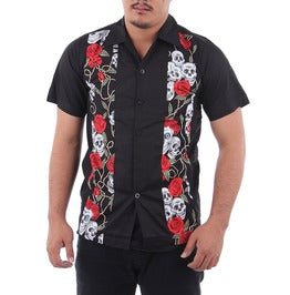 Men's Short Sleeved Skulls and Roses Button Down