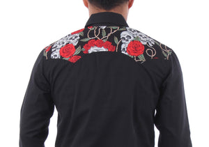 Men's Long Sleeved Skulls and Roses Dress Shirt