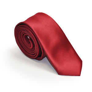 Deep Red Satin Skinny Neck Tie