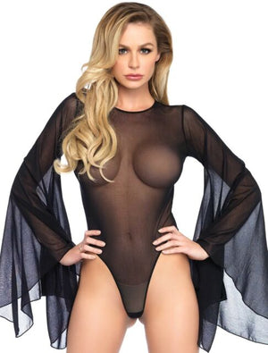 Sheer Bell Sleeve Black Bodysuit