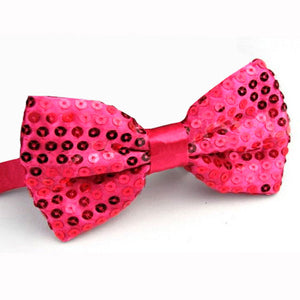 Hot Pink Sequined Bowtie