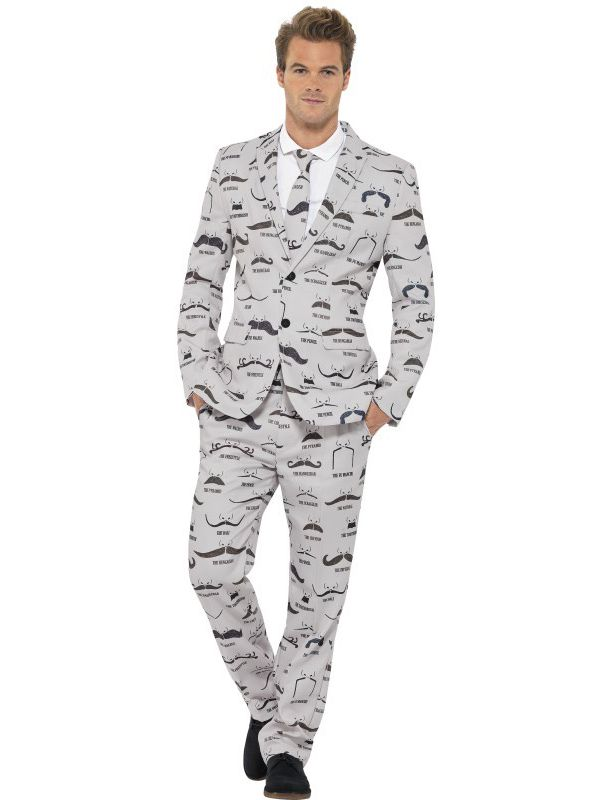 Moustache Print Stand Out Suit