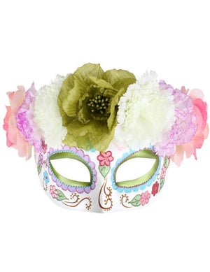 Pastel Floral Day of the Dead Half Mask