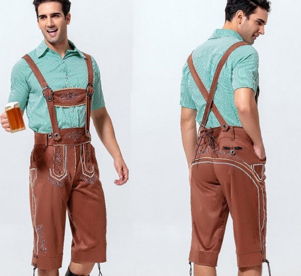 Brown & Mint Traditional Men's Lederhosen