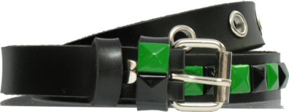 Green and Black Prism Stud Belt