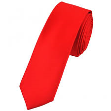 Red Satin Skinny Neck Tie