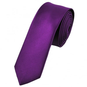 Dark Purple Satin Skinny Neck Tie