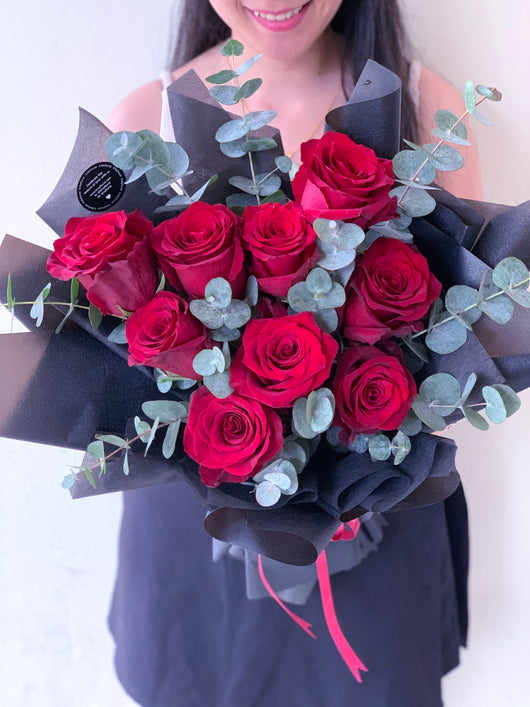 Red Roses with Eucalyptus (Mysterious - Premium Kenya Roses)