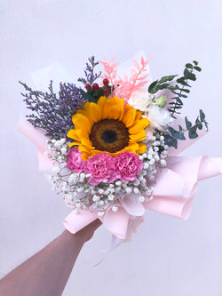 Sunshine Warmth - Sunflower & Pink Carnations