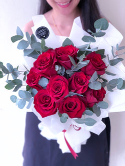 Red Roses with Eucalyptus (Elegant)