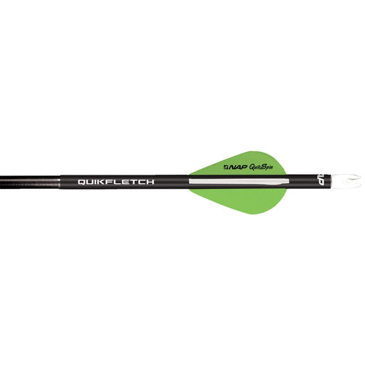 NAP Quikfletch w/Quikspin Vanes Black Tube White/Green 6 pk.