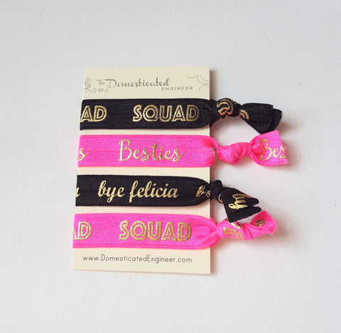 Elastic Hair Ties, Hair Tie Sets, Besties, Squad, Bye Felicia, Squad Goals, Small Gifts, Girls Gifts, Gifts for Women, Hot Pink, Set of four