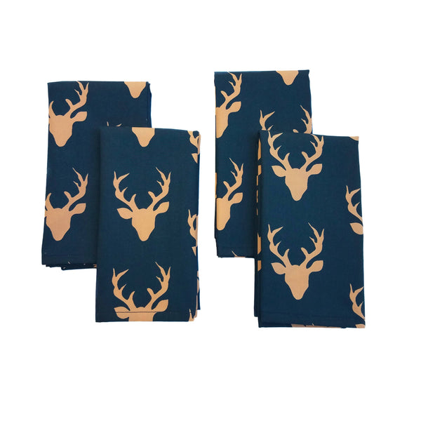Cloth Napkins - Sunset Woodland Deer - Set of 4 - 16 Inch Square