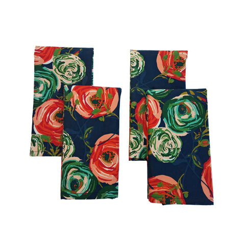 Cloth Napkins - Woodland Rose Print - Set of 4 - 16 Inch Square