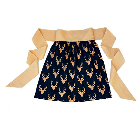 Women's Half Apron - Sunset Woodland Deer Print - One Size Fits All