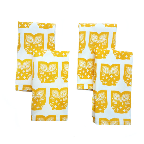 Cloth Napkins - Homey Owl Print - Set of 4 - 16 Inch Square