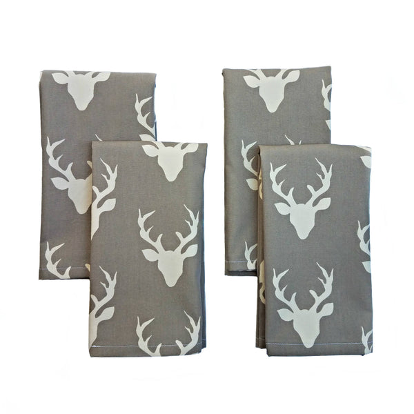 Cloth Napkins - Misty Woodland Deer Print - Set of 4 - 16 Inch Square