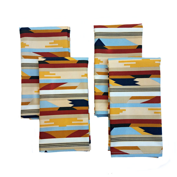 Cloth Napkins - Woven Tapestry Print - Set of 4 - 16 Inch Square