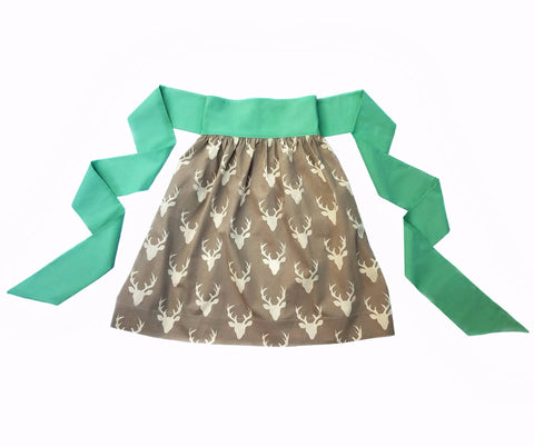 Women's Half Apron - Misty Woodland Deer Print - One Size Fits All