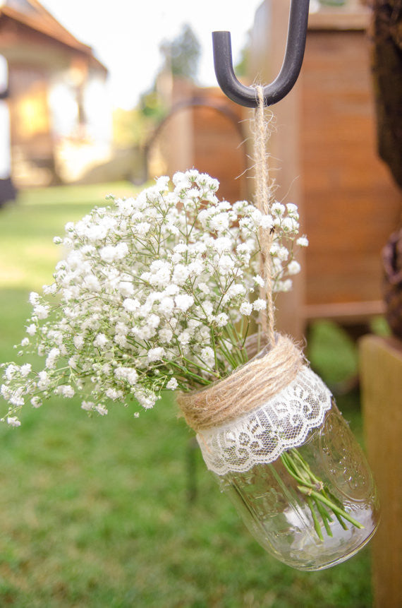 Hanging Mason Jar Vases, Set of 6, Wedding Aisle Decor, Rustic Wedding Mason Jar