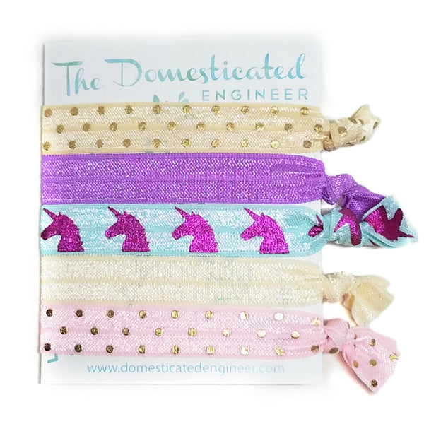 Unicorn and Dots Hair Tie Set