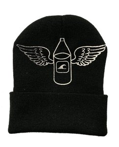 Black Hand-Printed Beanie (WITH 40)