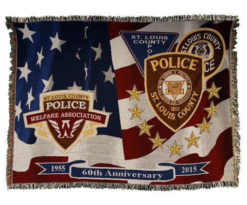 Item # CPI-038<br>St. Louis County P.D. 60th Anniversary Throw Blanket