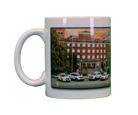 "Item # CDW-012<br>St. Louis County P.D. ""Building Photo"" Coffee Mug"
