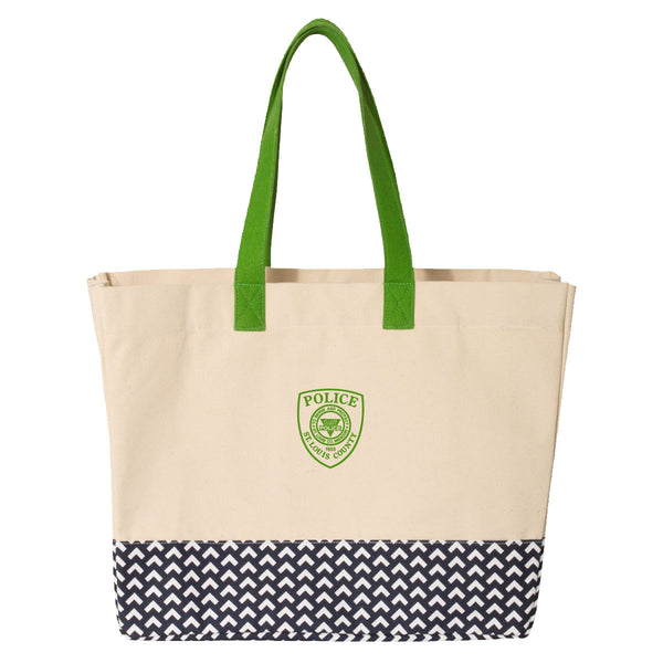 Item # CPI-088<br>St. Louis County P.D. Patterned Bottom Beach Tote
