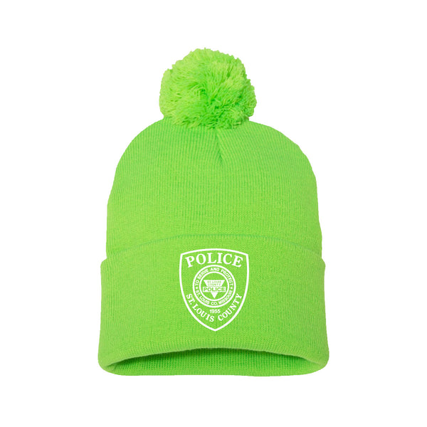 "Item # CHW-013<BR>SLCPD ""Badge"" Pom-Pom 12"" Knit Beanie"