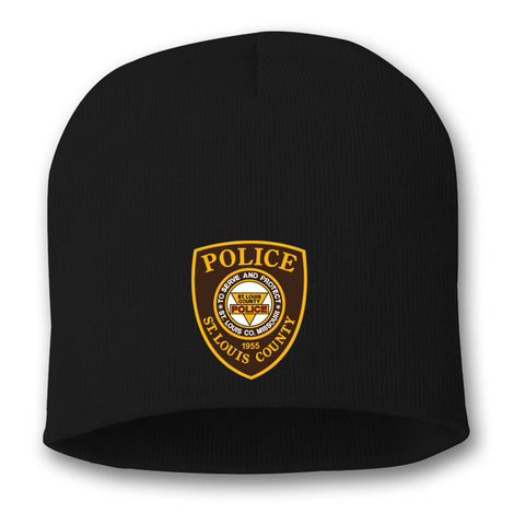 "Item # CHW-010<BR>SLCPD ""Badge"" Knit Beanie<br><i>Available in Black or Charcoal"