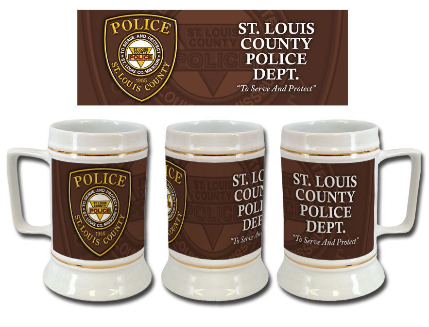 Item # CDW-015<br>St. Louis County P.D. Ceramic Stein (Brown)