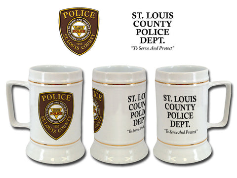 Item # CDW-014<br>St. Louis County P.D. Ceramic Stein (White)
