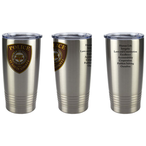 Item # CDW-022<BR>St. Louis County P.D. 20oz Stainless Steal Tumbler